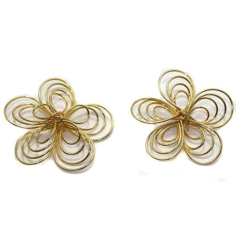 4 Earring Component Flower Golden 42 mm