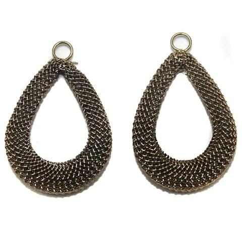 2 Pair Earring Components Bronze 35x26 mm