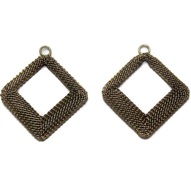 2 Pair Earring Components Bronze 35x35 mm