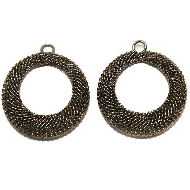 2 Pair Earring Components Bronze 30 mm