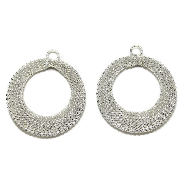 2 Pair Earring Components Silver 30 mm