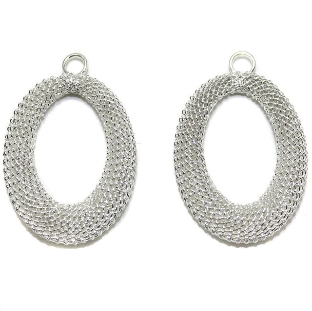 2 Pair Earring Components Silver 35x25 mm