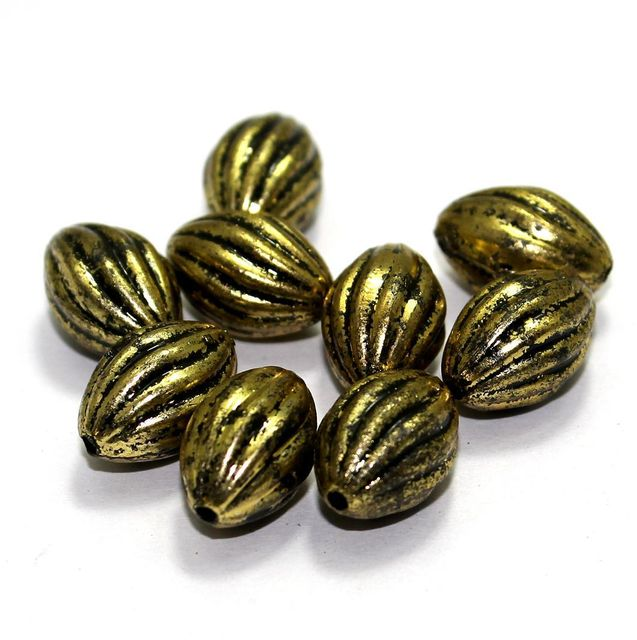 85+ Acrylic Oval Beads Golden 15x10mm