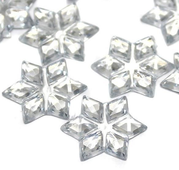 75 pcs Scatter Star Emerald Flatback Faceted Acrylic 16mm
