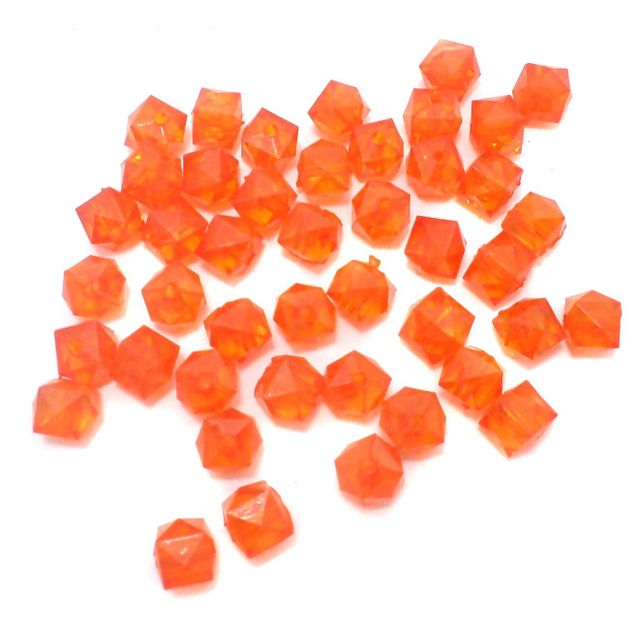 500 Pcs. Acrylic Faceted Crystal Cube Beads Trans Orange 7mm
