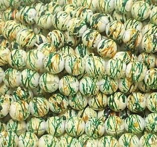 600+ Acrylic Printed Round Beads Green And Yellow 7mm
