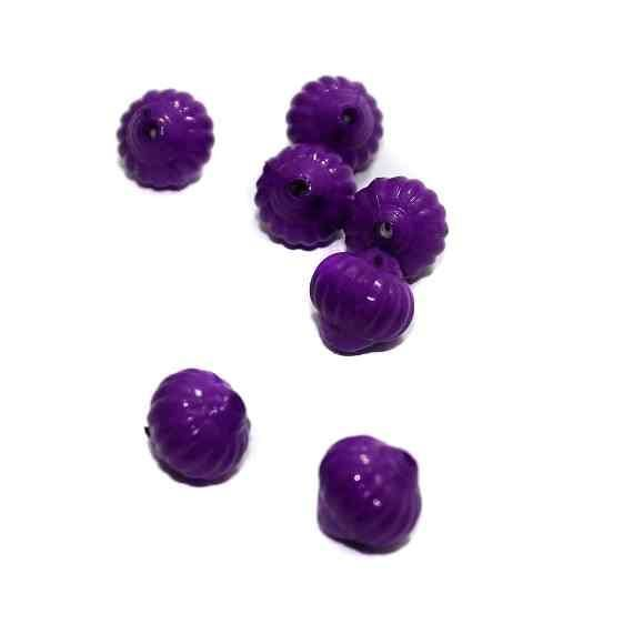 120+ Acrylic Melon Beads Violet 12mm