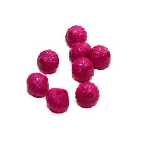 120+ Acrylic Melon Beads Magenta 12mm