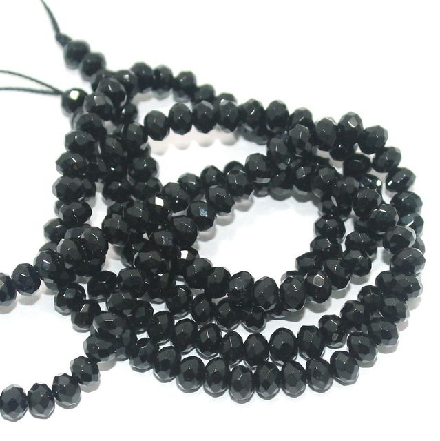 Faceted Onyx Stone Roundell Beads 6x4 mm, Pack Of 2 Strings Black