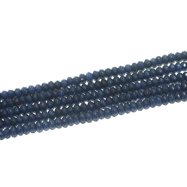 Faceted Onyx Stone Tyre Beads 3x4 mm Dark Blue, Pack Of 5 Strings