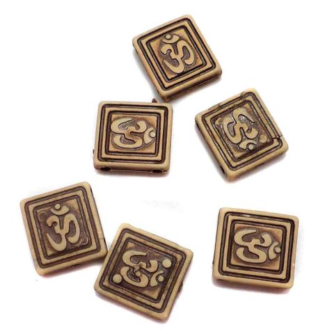 150+ Acrylic Om Beads Wooden Finish 14mm