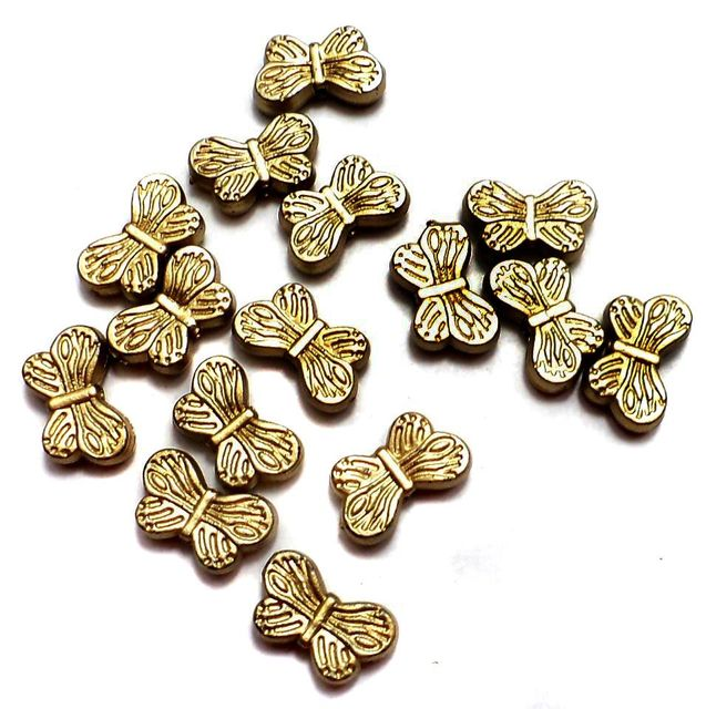 200 Gm Acrylic Butterfly Charms Beads Golden Finish 12x7 mm