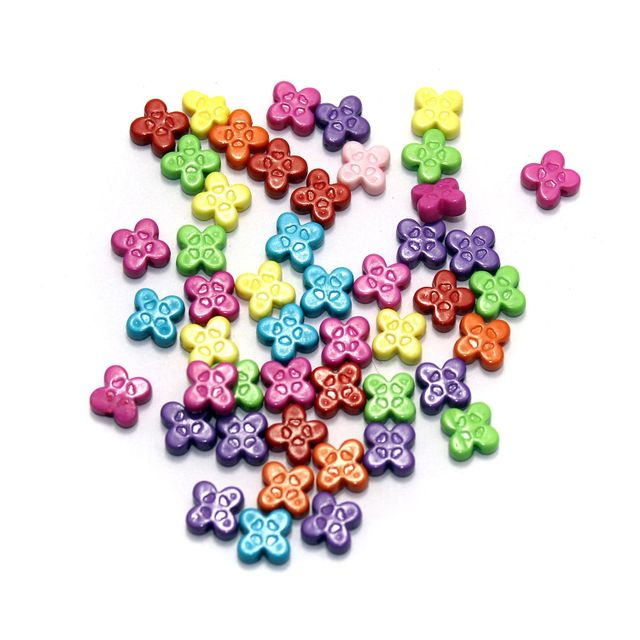 450+ Assorted Neon Acrylic Flower Beads 8mm