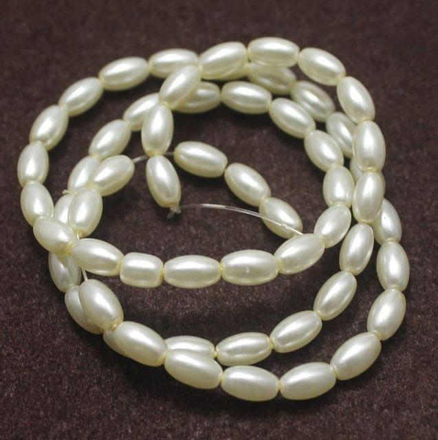 55+ Glass Pearl Oval Beads Off White 7x4 mm