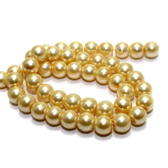 45+ Glass Pearl Round Beads Ivory 8mm