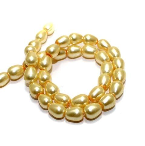 40+ Glass Pearl Drop Beads Ivory 8x6 mm