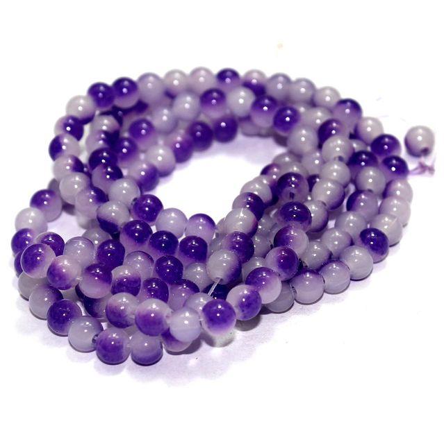 5 String Glass Round Beads Purple 6mm