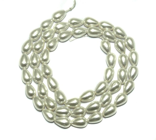 Natural Freshwater Drop Pearl Bead White, Size 8x6mm, Pack of 1 Strings