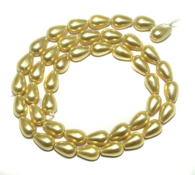 Natural Freshwater Drop Pearl Bead Ivory, Size 10x6mm, Pack of 1 Strings