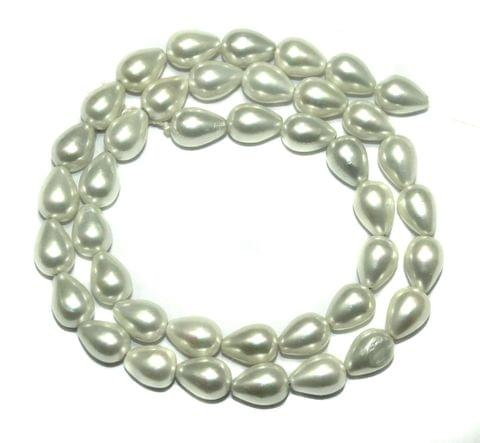 Natural Freshwater Drop Pearl Bead White, Size 10x6mm, Pack of 1 Strings