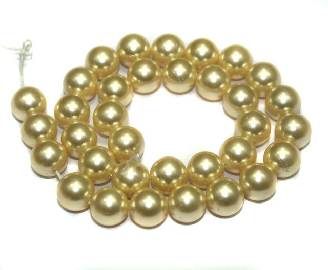 Faux Pearl Round Beads Lemon Chiffon 8mm, Pack of 1 Strings