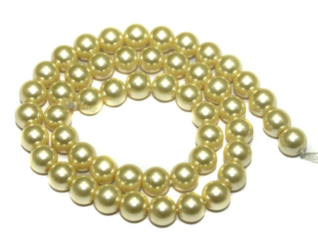 Faux Pearl Round Beads BurlyWood, 8mm, Pack of 1 Strings