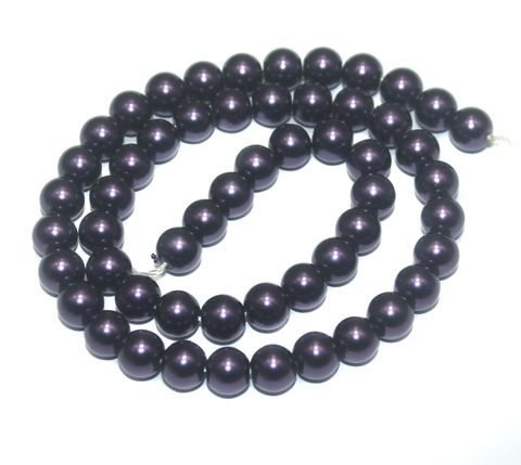 Faux Pearl Round Beads Dark Purple 8mm, Pack of 1 Strings
