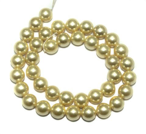 Natural Freshwater Round Pearl Beads Off White, Size 10mm, Pack of 1 Strings