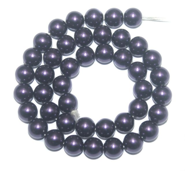 Faux Pearl Round Beads Dark Purple 10mm, Pack of 1 Strings