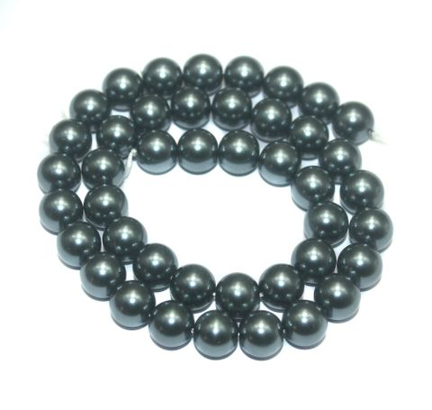 Faux Pearl Round Beads Gray 10mm, Pack of 1 Strings