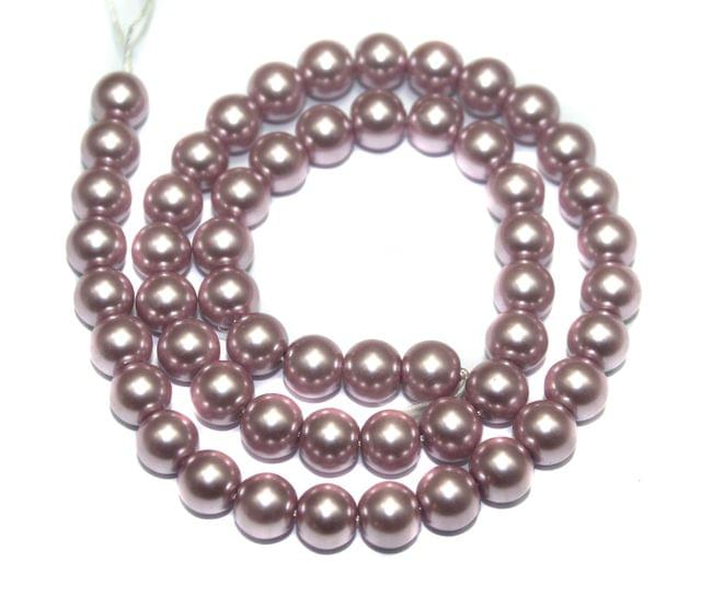 Faux Pearl Round Beads Saddle Brown 10mm, Pack of 1 Strings