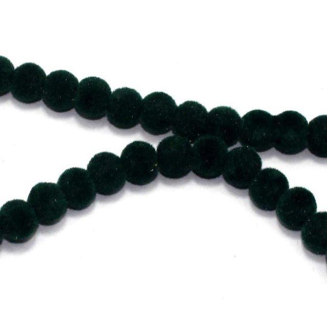 Bubblegum Velvet Glass Clear Round Beads Green, Size 8 mm, Pack of 5 Strings