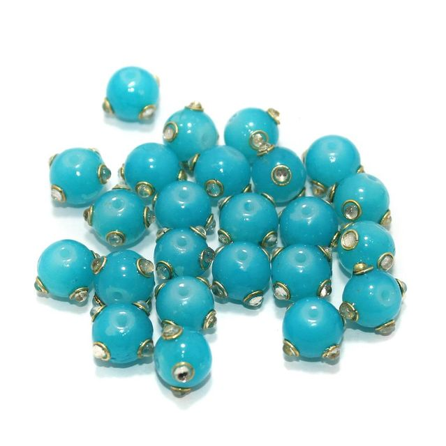 Glass Kundan Beads Round 10mm Turquoise