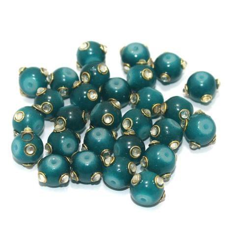 Glass Kundan Beads Round 10mm Teal