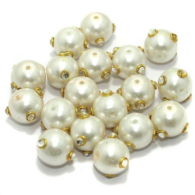 Glass Kundan Beads Round 12mm White