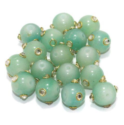 Glass Kundan Beads Round 12mm Light Green