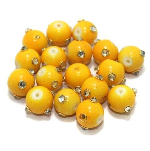 Glass Kundan Beads Round 12mm Yellow
