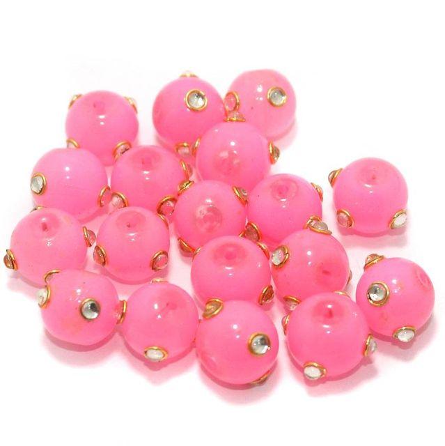 Glass Kundan Beads Round 12mm Hot Pink