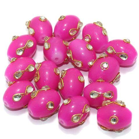 Glass Kundan Beads Oval 15x12mm Magenta