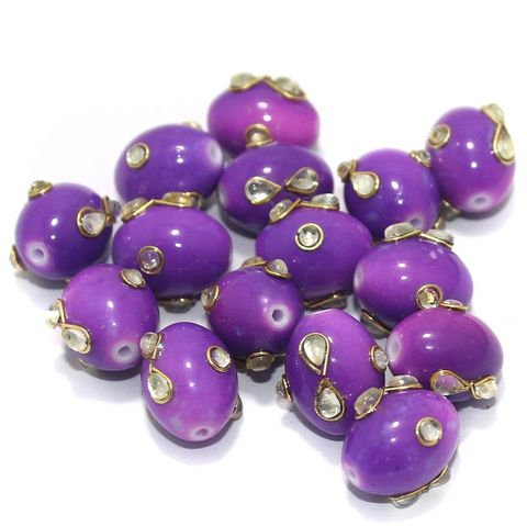 Glass Kundan Beads Oval 15x12mm Purple