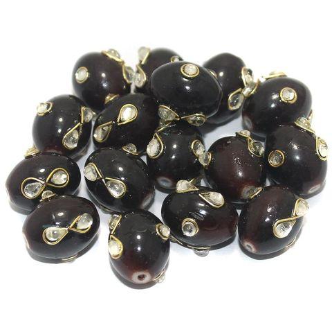 Glass Kundan Beads Oval 15x12mm Maroon