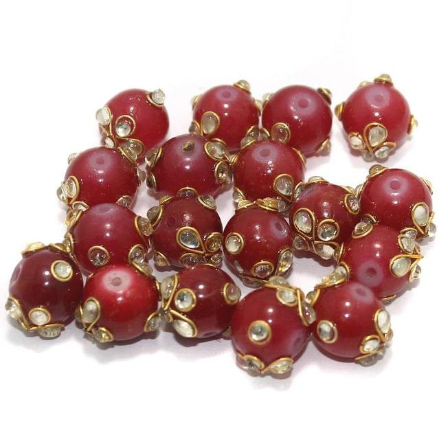 Glass Kundan Beads Round 12mm Red