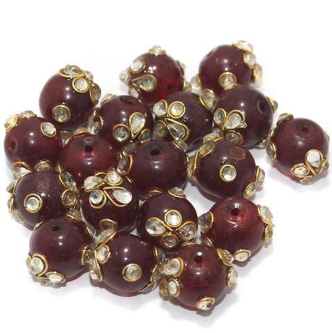 Glass Kundan Beads Round 12mm Maroon