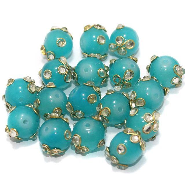 Glass Kundan Beads Round 12mm Turquoise