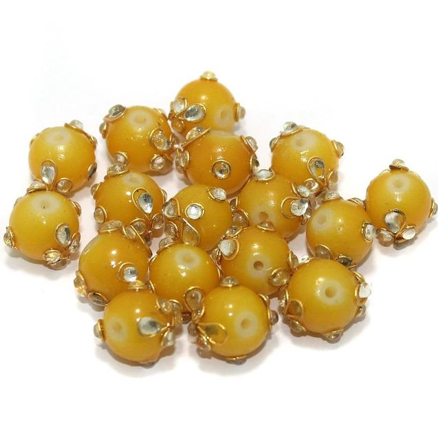 Glass Kundan Beads Round 12mm Yellow