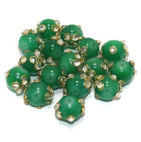 Glass Kundan Beads Round 12mm Green