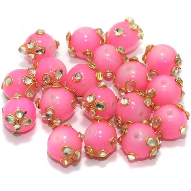 Glass Kundan Beads Round 12mm Pink