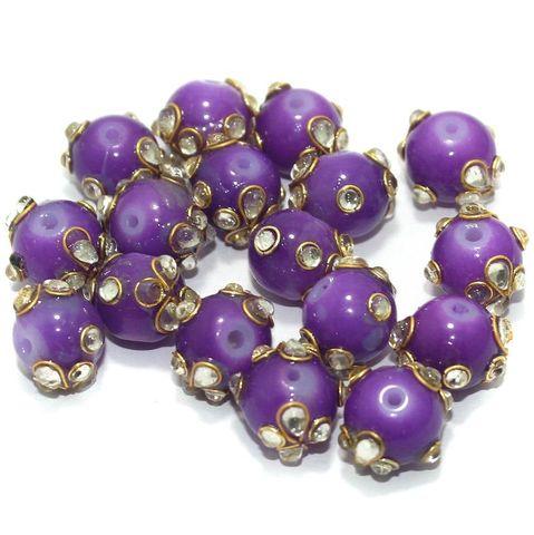 Glass Kundan Beads Round 12mm Purple