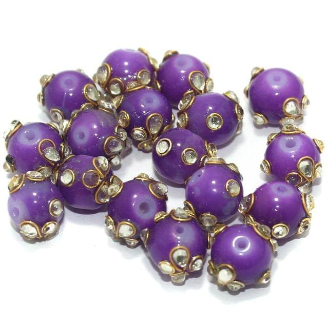 Glass Kundan Beads Round 12mm Purple