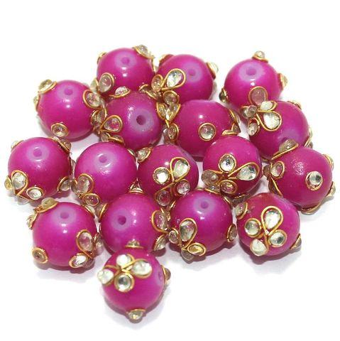 Glass Kundan Beads Round 12mm Magenta